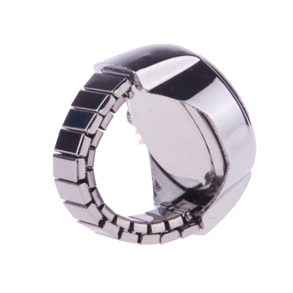 New Creative Fashion Lady Girl Steel Round Elastic Quartz Finger Ring Watch