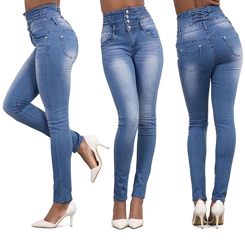Women Ladies Fashion Sexy High Waist Slim Skinny Jeans Stretch Pencil Denim Pants Plus Size S-XXL