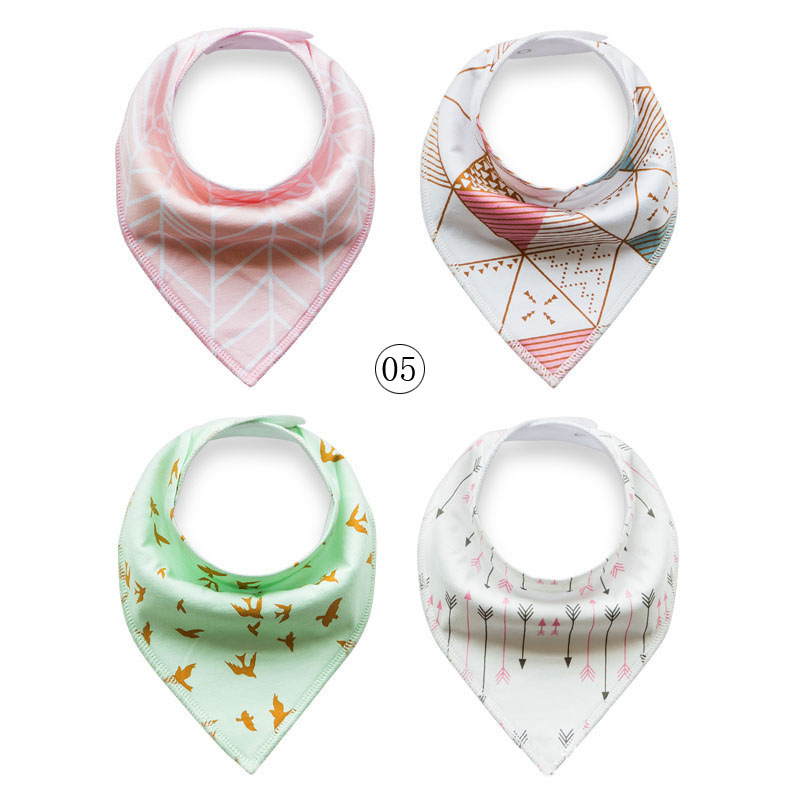 4Pcs Lovely Infant Baby Unisex Feeding Saliva Towel Dribble Triangle Bibs