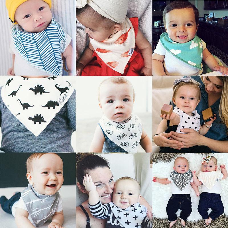4Pcs Lovely Infant Baby Unisex Feeding Saliva Towel Dribble Triangle Bibs