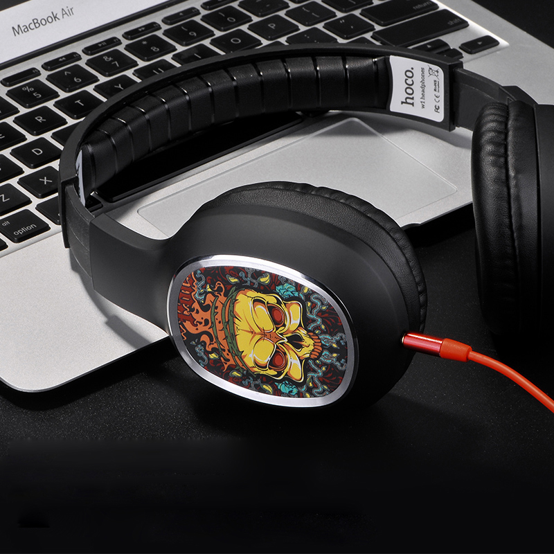 W1 Headset Headphone 3.5mm Plug Soft PU Material for iPhone Android Smartphones Notebook Tablet PC