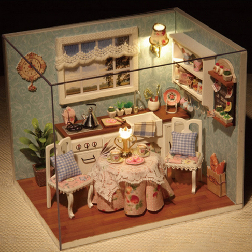 DIY Kitchen Wooden Dollhouse Furniture Kits LED Light Miniature Christmas Dollhouse Puzzle Toy