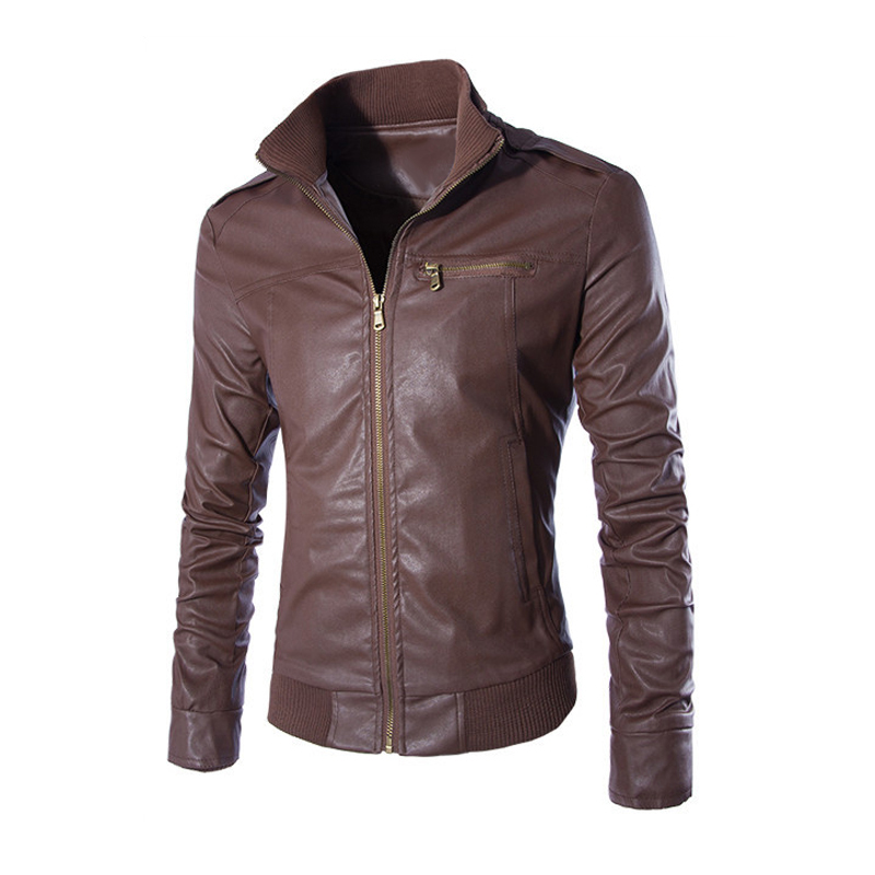 Men's fashion Hot Sale jackets collar Slim motorcycle leather jacket coat outwear