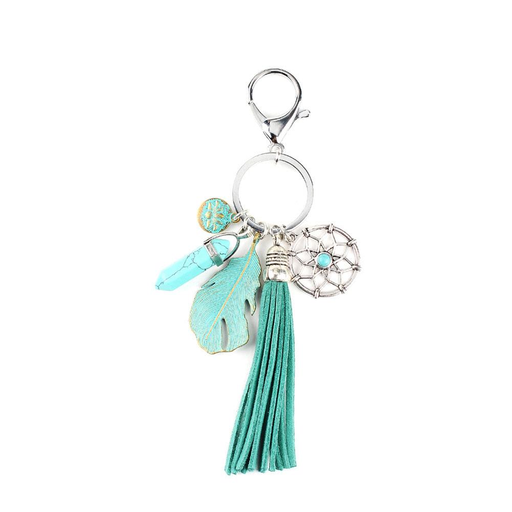 Green Leaf Artificial Leather Stone Pendant Keychain Multi Tassel Car Keychain Women Jewelry Pen Keychain