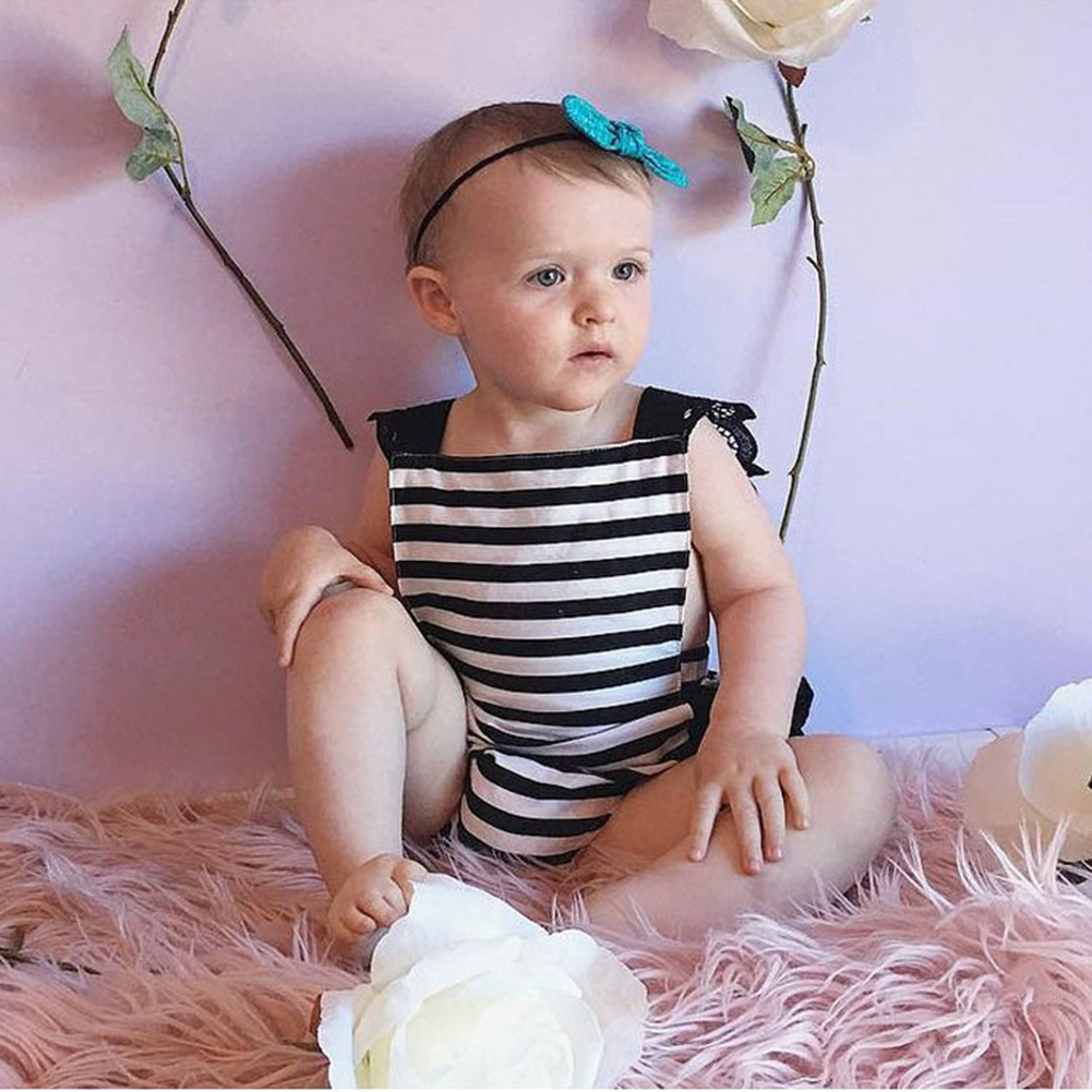 Newborn Infant Kids Baby Girls Clothes Lace Jumpsuit Romper Bodysuit + Headband Outfits Set 0-18M 2pcs