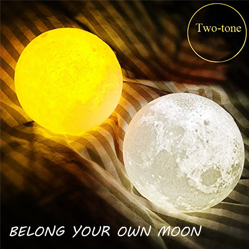 15CM 3D USB LED Moon Night Lamp Warm White light Change Table Desk Gift