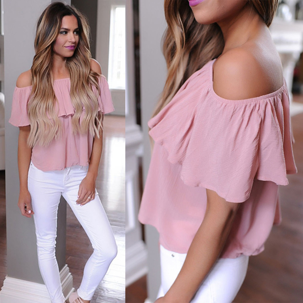 2017 New Women Ladies Loose Ruffle Off Shoulder Tops Dusty T-Shirt Blouse Lotus Leaf