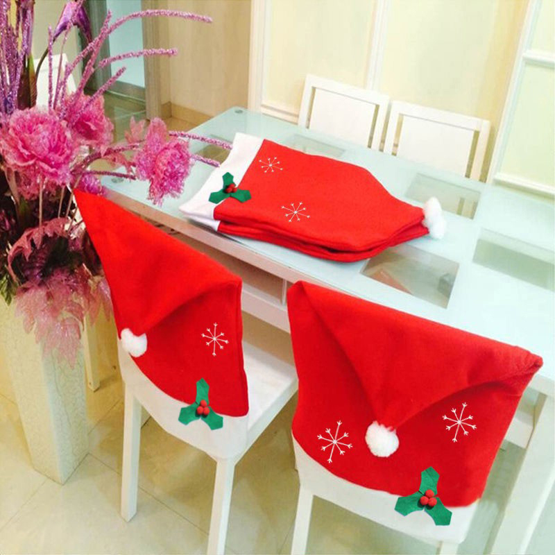 Christmas Santa Claus Red Hat Chair Back Covers Christmas Dinner Table Decor