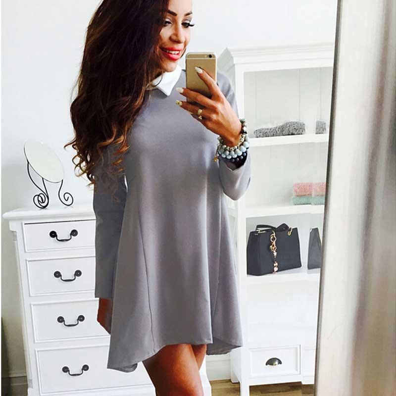 Womens Sexy Long sleeve Irregular Hem Lapel Bodycon Evening Party Dress