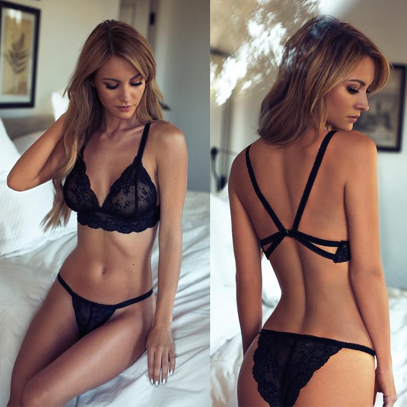 Women Girl Sexy Underwear Strap Lace Embroidery Bra Black Set Panties