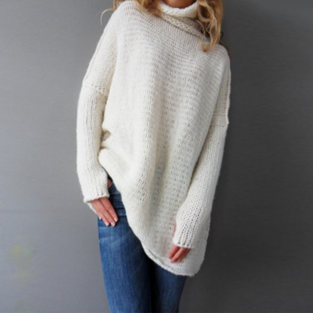Women Casual High-Neck Long Sleeve Sweater White Kint Tops Blouse