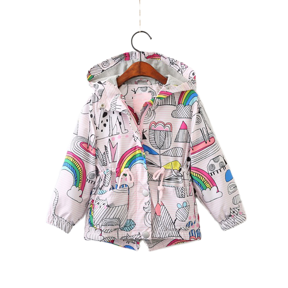 Baby Kids Boys Girls Rainbow Flower Printed Hooded Floral Printed Coat Jacket Children Clothes