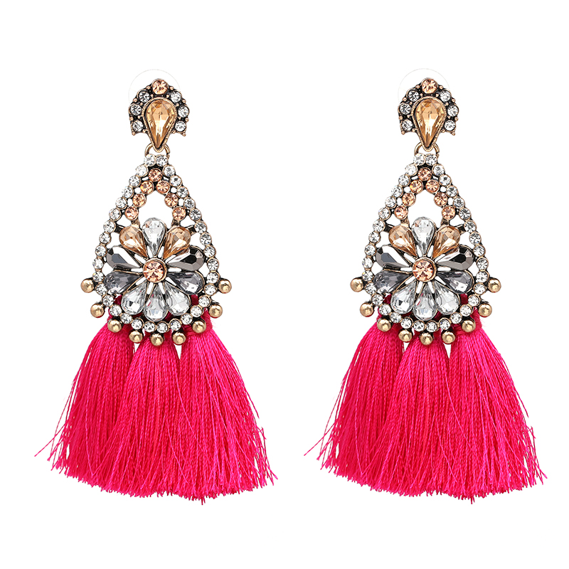 1 Pair Fashion Bohemian Style Ear Stud Long Tassel Dangle Earrings Womens Vintage Jewelry Gift