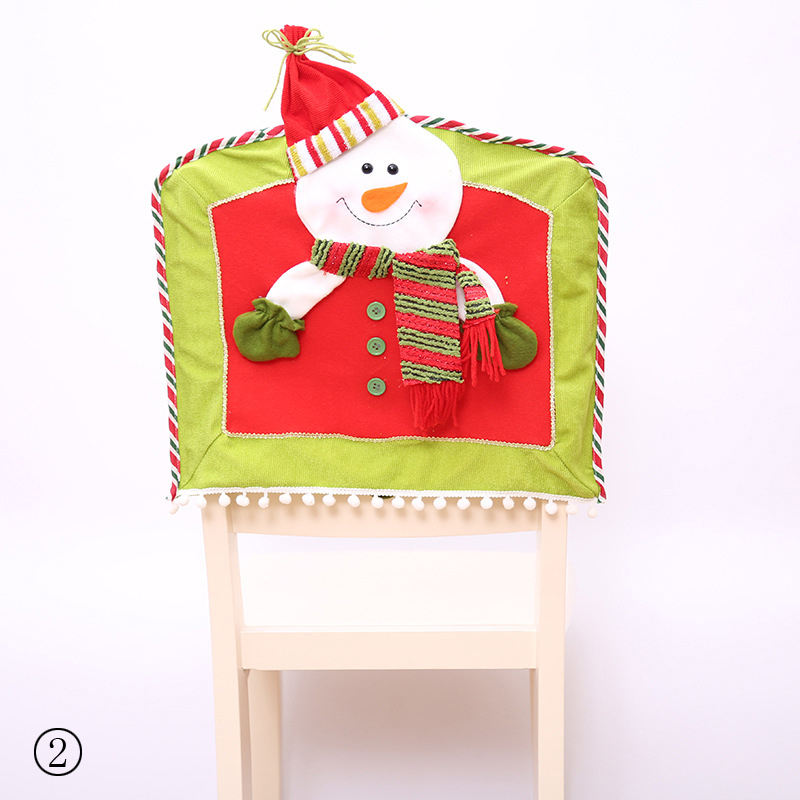 Cute Santa Claus Snowman Elk Christmas Chair Cover Xmas Party Christmas Hat Chairs Decor