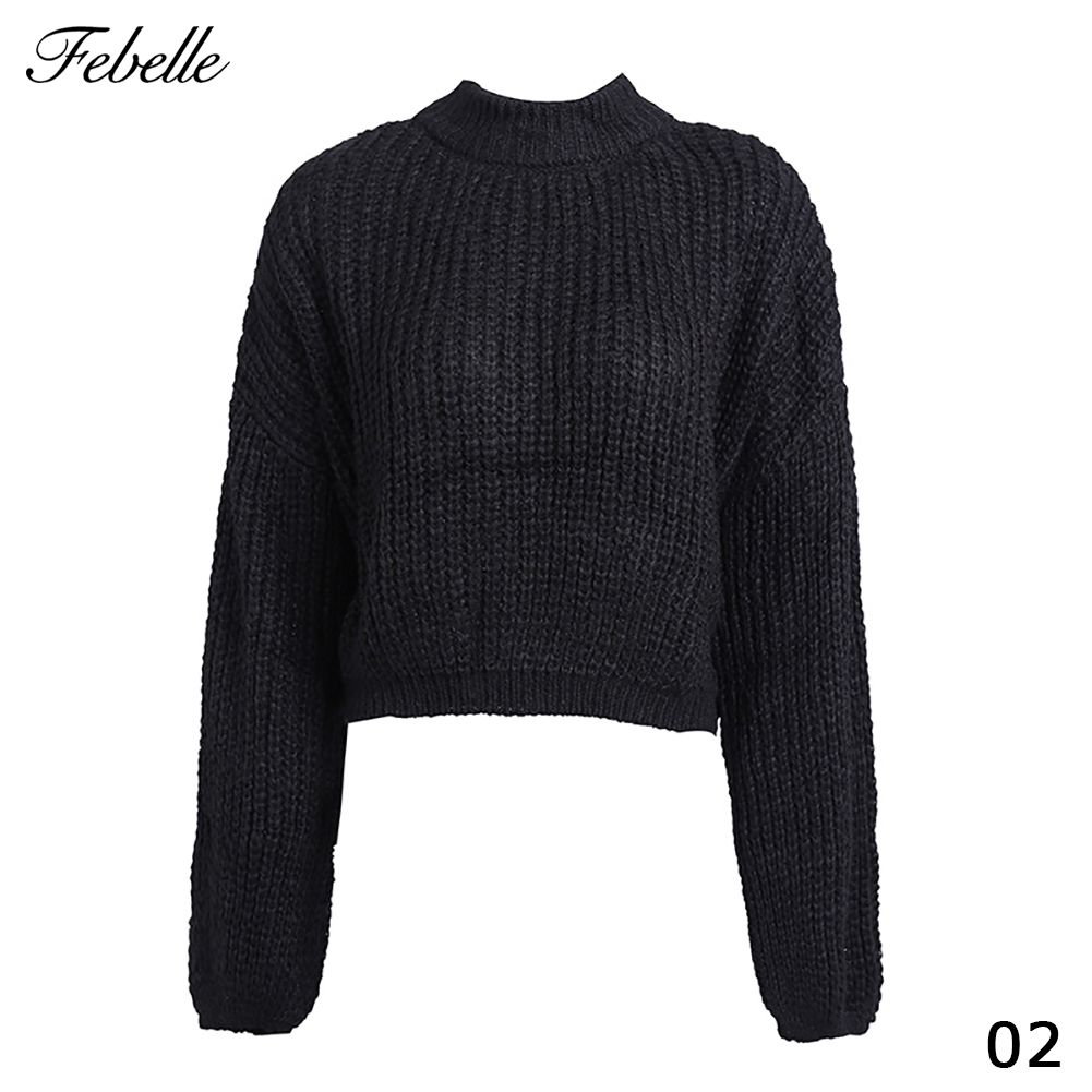 Febelle Lantern Sleeve Knitted Sweater Pullover For Women Free Round Collar Red Women Sweater Autumn Casual Sweater Cardigan