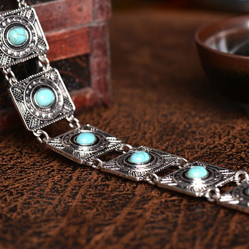 Hot Women Ethnic Boho Collar Choker Square Carved Turquoise Bead Chain Necklace