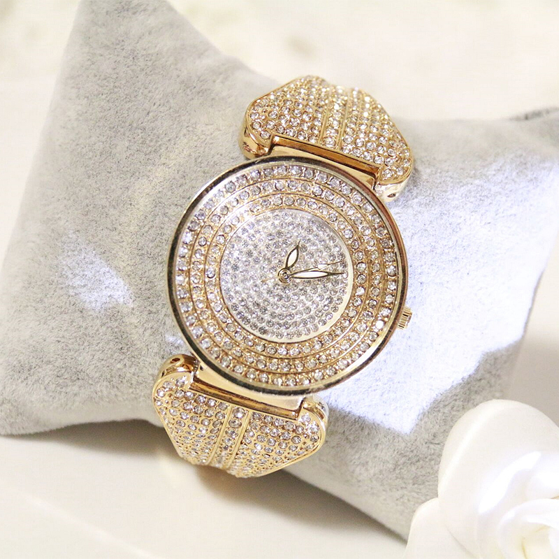Trendy Luxury Women Stainless Steel Quartz Full Rhinestone Analog Bling Bracelet Watch