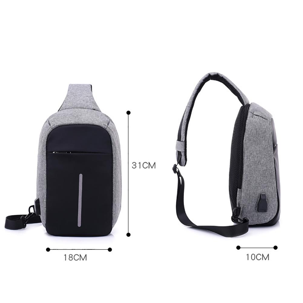 New Fashion Men Rechargeable USB Anti-thief Shoulder Bag Backpack One Shoulder Bag Backpack for Boys