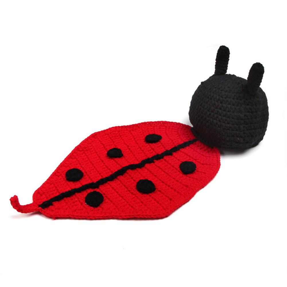 Baby Girl Boy Ladybug Cartoon Knitted Hat Sexy Cute Cothing Set Newborn Photography Props