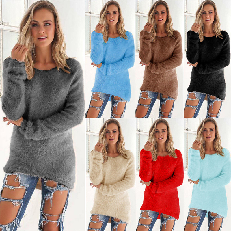 Fashion Womens Long Sleeve Velvet Loose Winter Warm Sweatershirt Casual Jumper