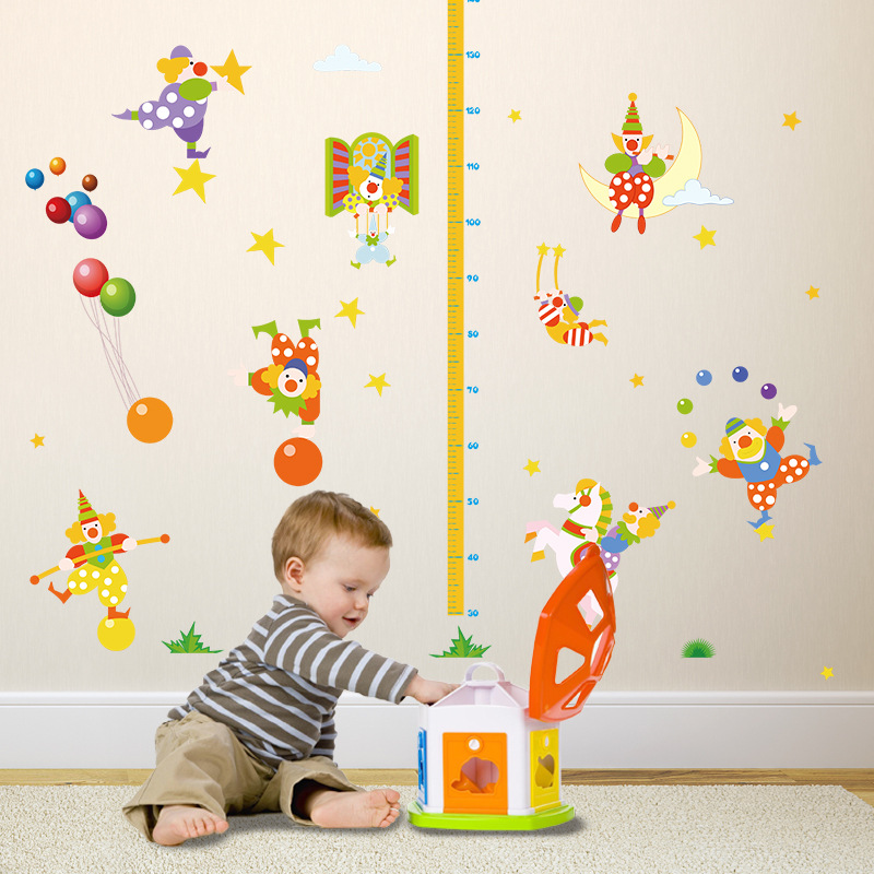 Cartoon Clown Wall Stickers Decals Measuring Height Exam For Baby Child Kids
