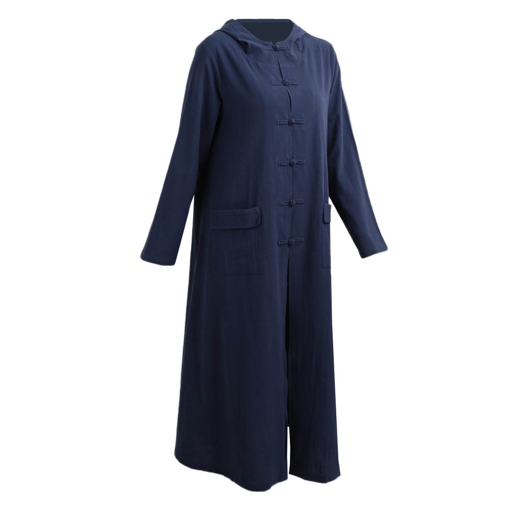 Women Retro Casual Long Plus Size Maxi Dress Hoodies Hooded Oversized Buttons Down