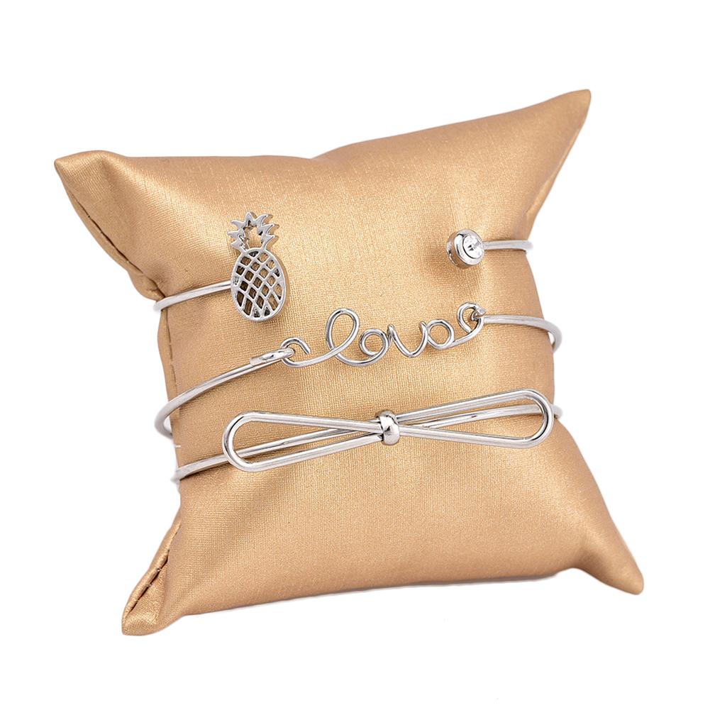3 Pcs/Set Bowknot Pineapple Crystal Love Adjustable Open Bangle Bracelets Women's Fashion Jewelry Gift