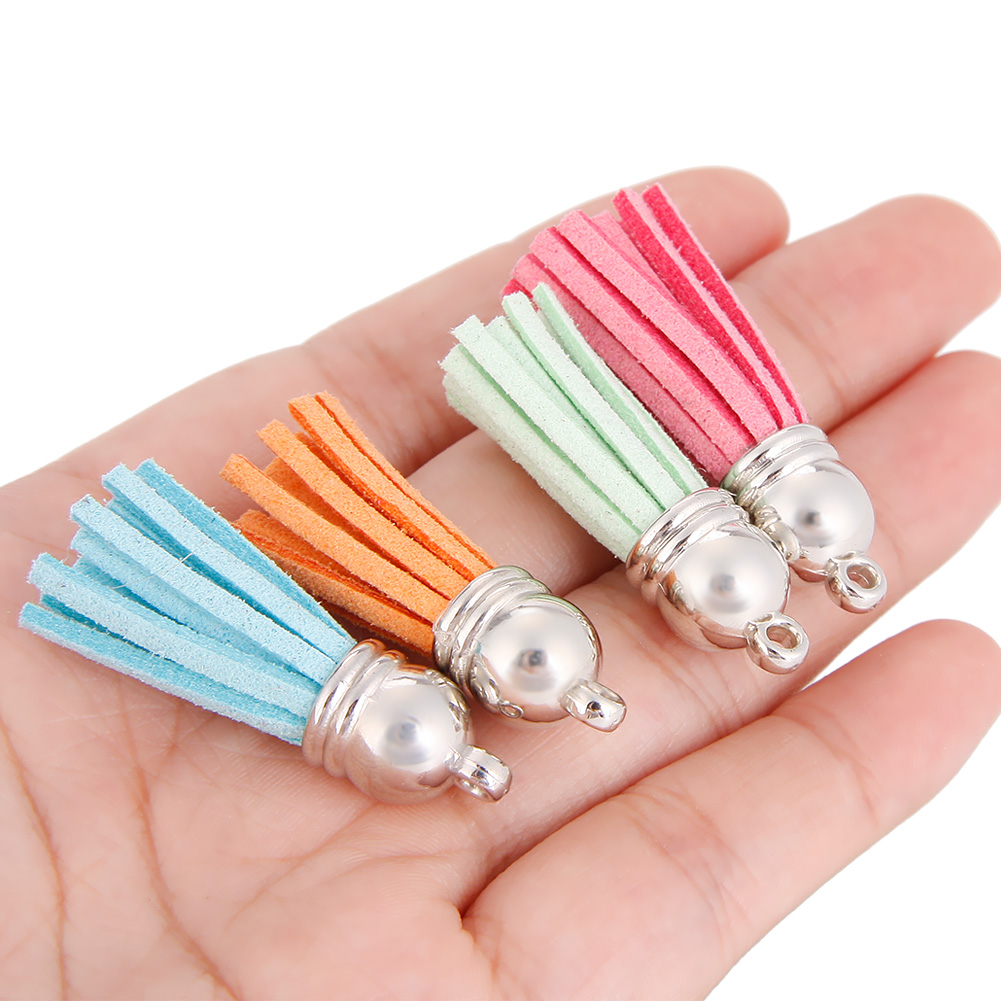60 Pieces 30 Colors 40 mm Leather Tassel Pendants Faux Suede Tassel with Caps for Key Chain Straps DIY Accessories