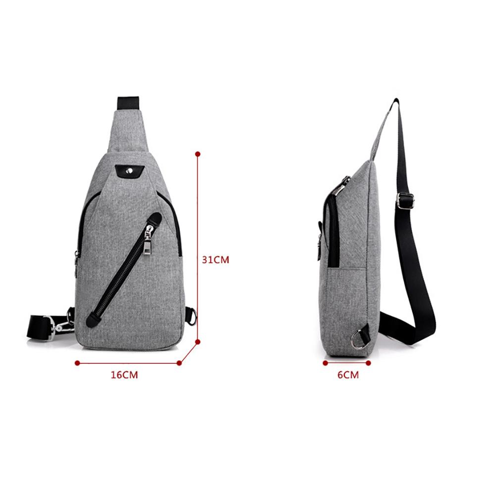 USB Charge Men Male Chest Bag Sling Bag Male Shoulder Waist Handbag Crossbody Bag