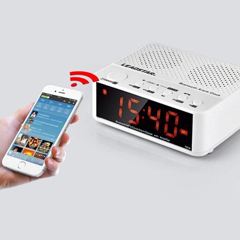 Portable Alarm Clock Bluetooth FM Stereo Speaker Super Bass for Phone Tablet