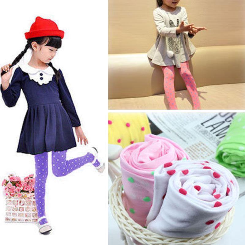 Fashion Tights Kids Girls Velvet Slim Full Foot Stocking Cute Dot Baby Lovely Pantyhose