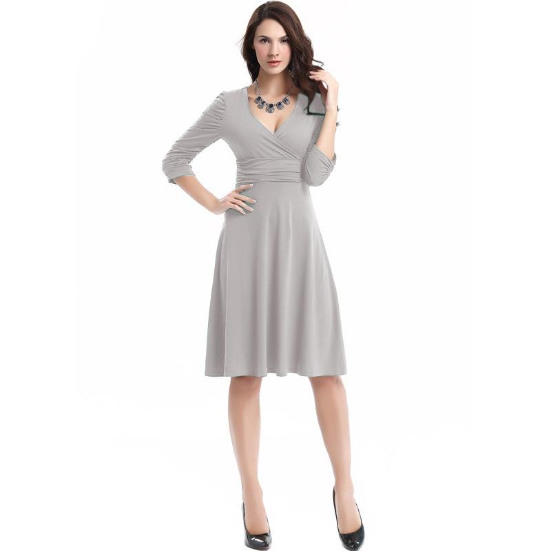 Women Sexy Lady Slim Elastic Waist Flared Long Sleeve Party Cocktail Plain Deep V Dress