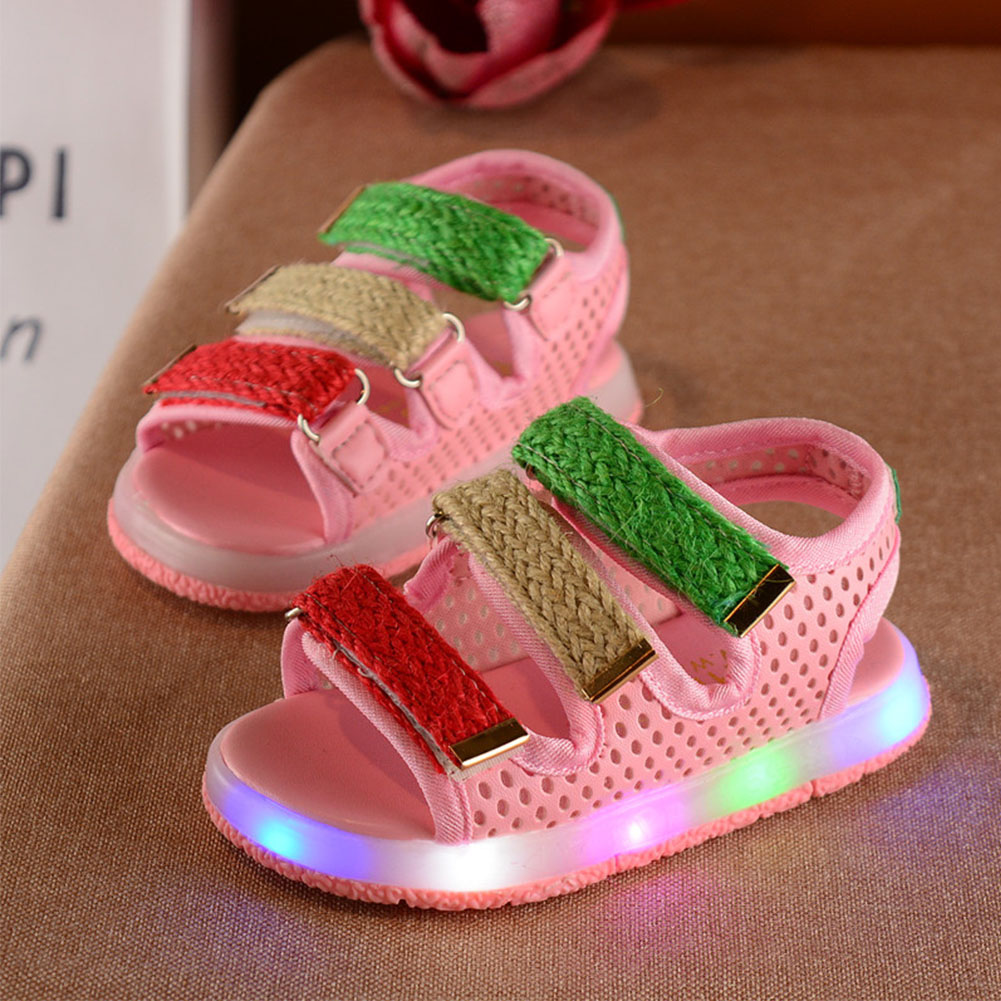 New Hot Summer Baby Shoes Kids Girl Sandals Children Skidproof Toddlers Led Light Shoes Beach