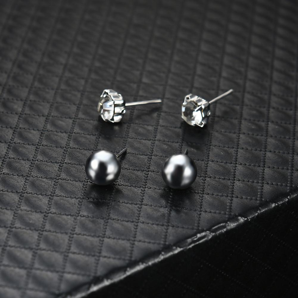 6 Pairs/Set Turquoise Diamond Multi-element Ear Stud Rhinestone Crystal Earrings Women Fashion Jewelry Hot