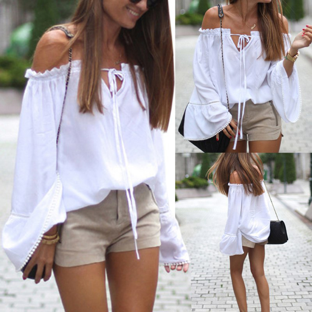 Sexy Women White Tops Long Sleeve Off Shoulder Loose T-Shirt