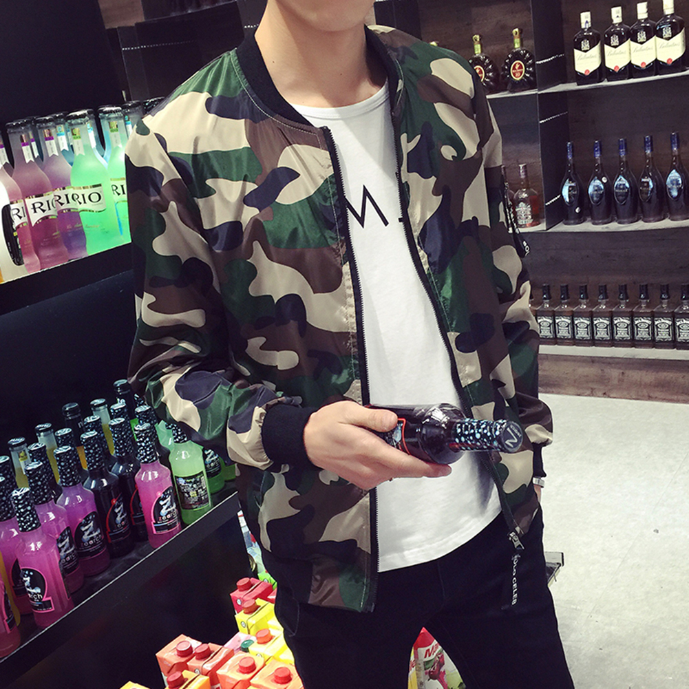 Men's Fashion Camouflage Slim Fit Baseball Collar Jacket Coat Tops Outwear M-5XL Military Style