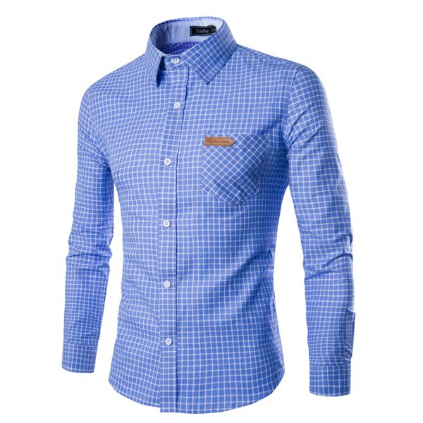 Men's Shirt Men's flannel plaid shirt Casual Long Sleeve Shirts