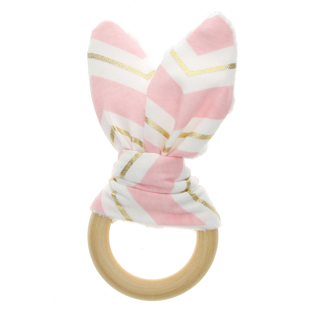 Hot Sale Baby Bunney Ears Teething Ring Teether Natural Wood Circle With Fabric Wooden Teething Training Sensory Newborns Toys