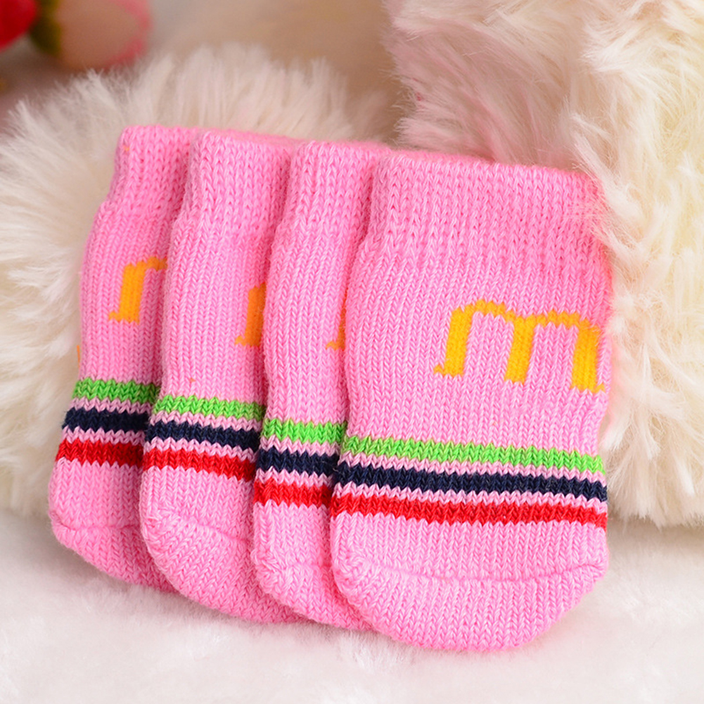 Cute Pattern Pet Dog Puppy Cat Non-Slip Shoes Slippers Socks Random