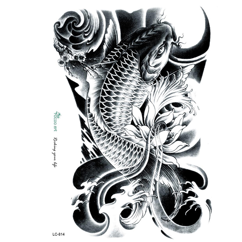 3D Large Big Tatoo Sticker Sketch Black Golden Fish Drawing Cool Temporary