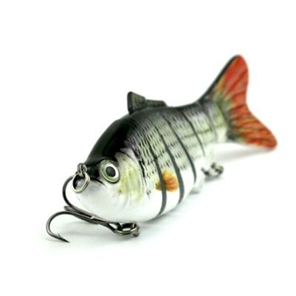 Swimbait Lure Life-like 6 Segment 3D Eyes Fishing Lure Treble Hooks