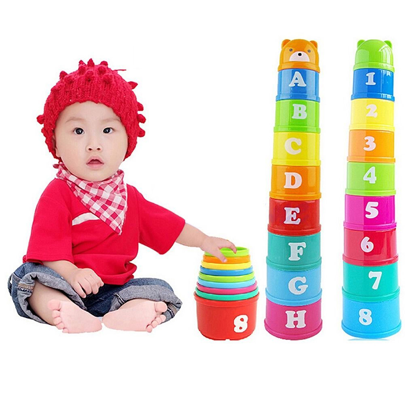 Plastic Baby Stacked Cup Stacking Tower Newborn Educational Toys