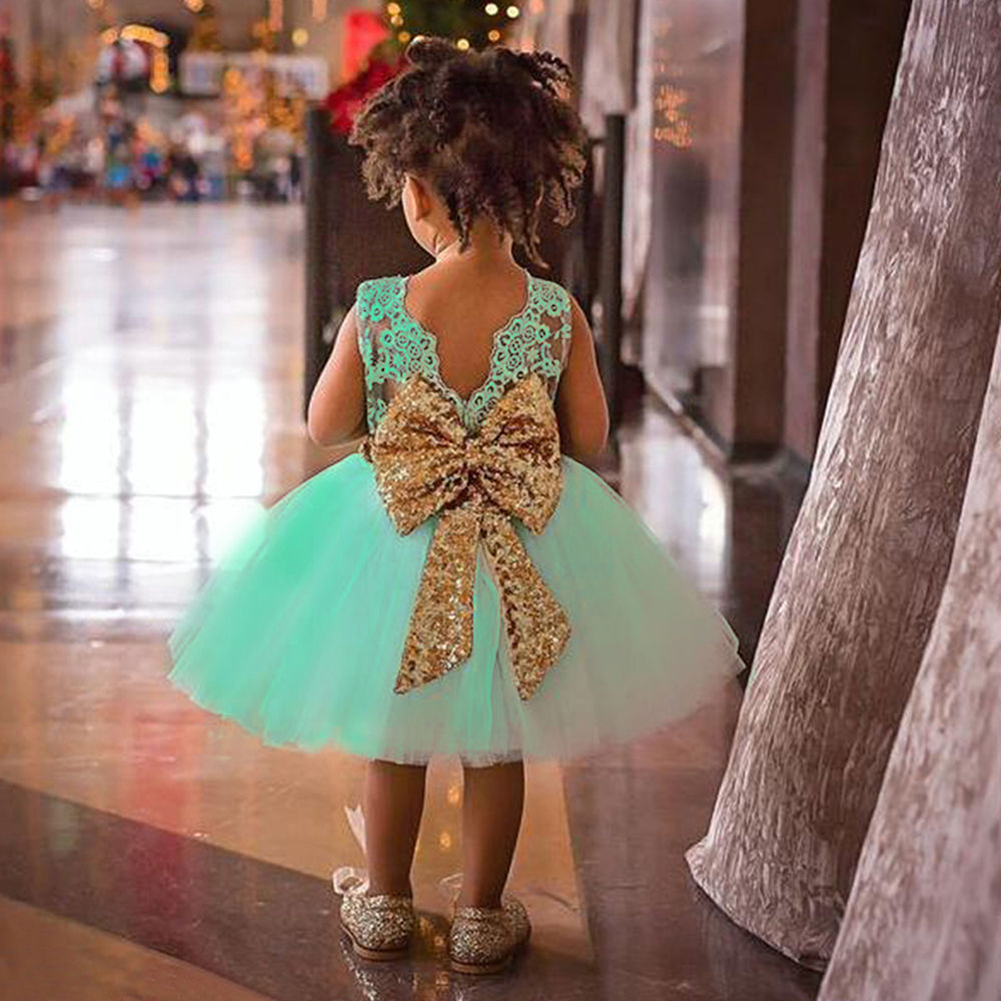 Baby Kids Girl Bowknot Lace Floral Princess Dress Wedding Party Formal Dresses