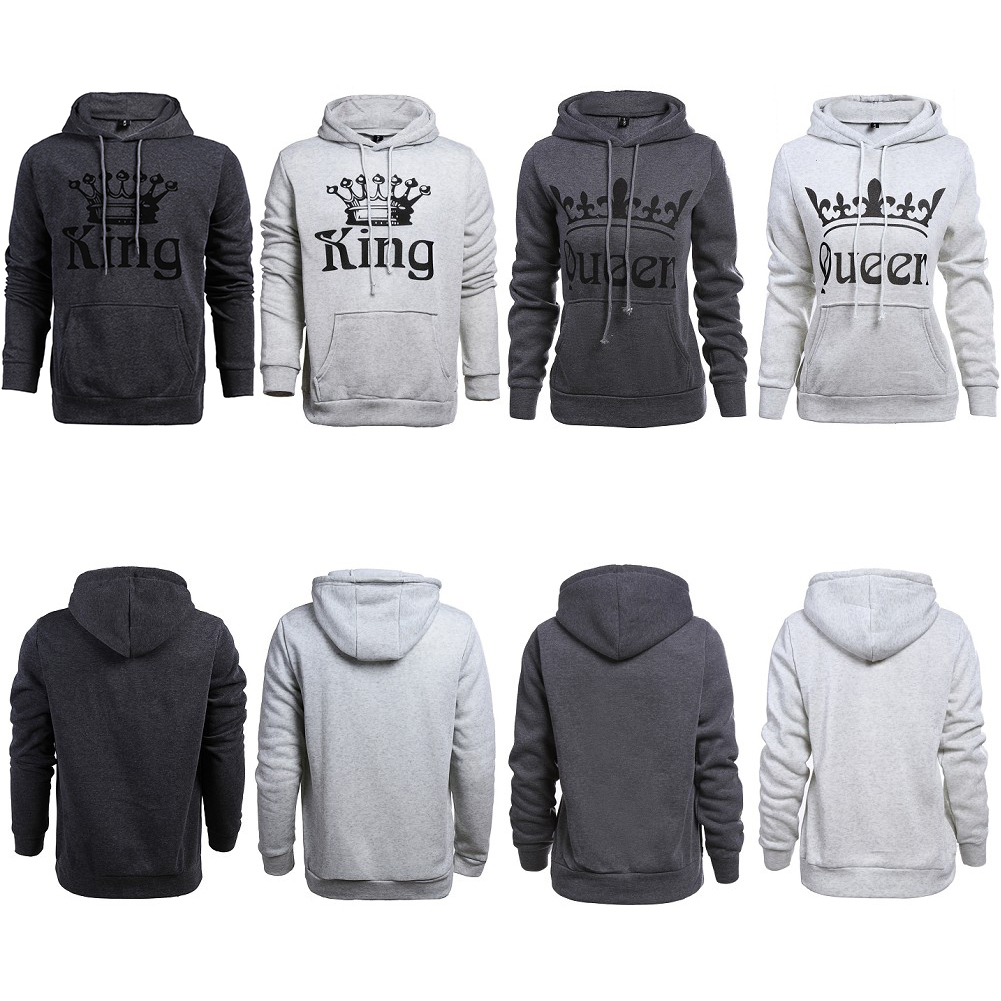 Fashion Hoodies Casual Sweatshirt Hooded Pullover Couple Hoodies Print King Queen Warm Autumn and Winter Tops