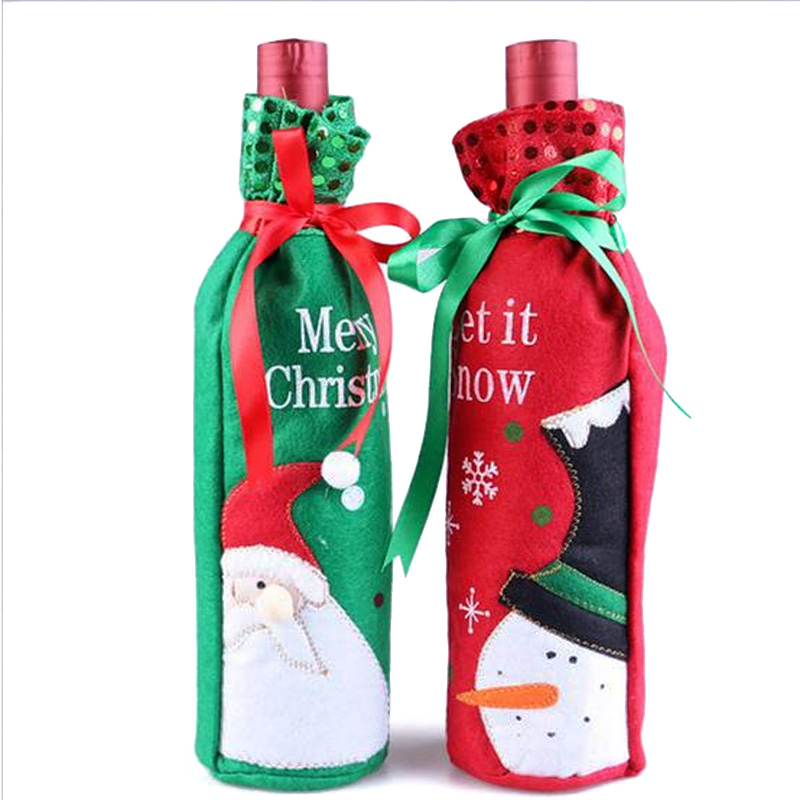 Wine Bottle Cover Bags Christmas Dinner Table Home Party Decors Santa Claus