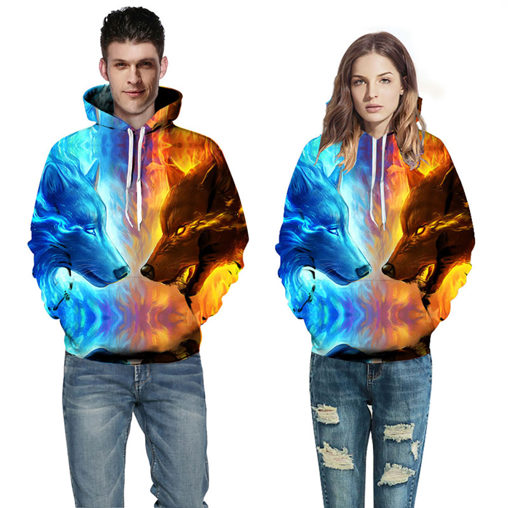 Werewolf family 3D Sweatshirts Men/Women Hoodies With Hat Print Stars Nebula Autumn Winter Loose Thin Hooded Hoody Tops