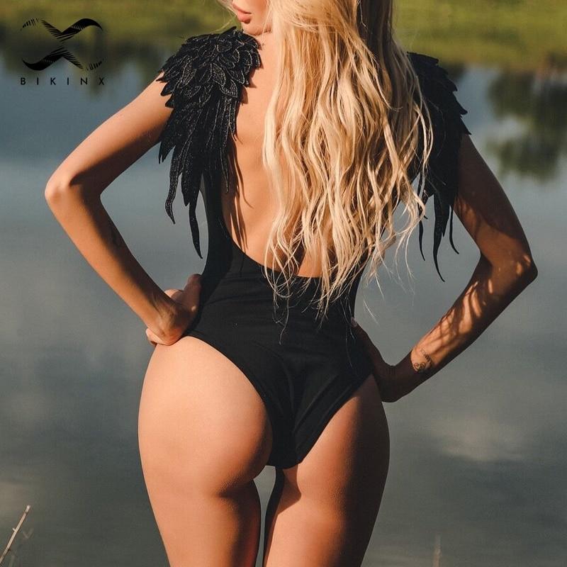 Deep V plus size swimwear women bathers Ruffle bikinis 2018 mujer one piece swimsuit push up sexy bathing suit thong monokini XL