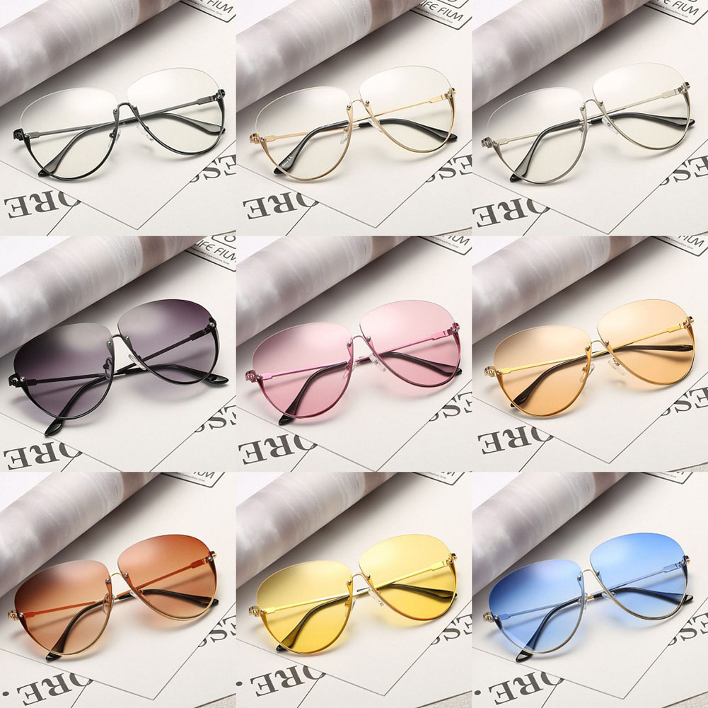 219b8f5f585ca ... Rimless New Cat Eye Women Sunglasses Transparent Fashion Brand Designer  Sunglasses Lady Clearly Large Metal Gold ...