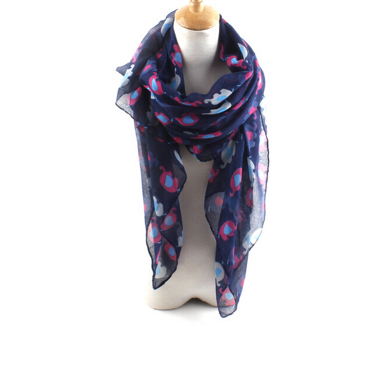 Fashion Twill Women Dot Elephant Print Scarf Shawl Wrap Warm Multicolor