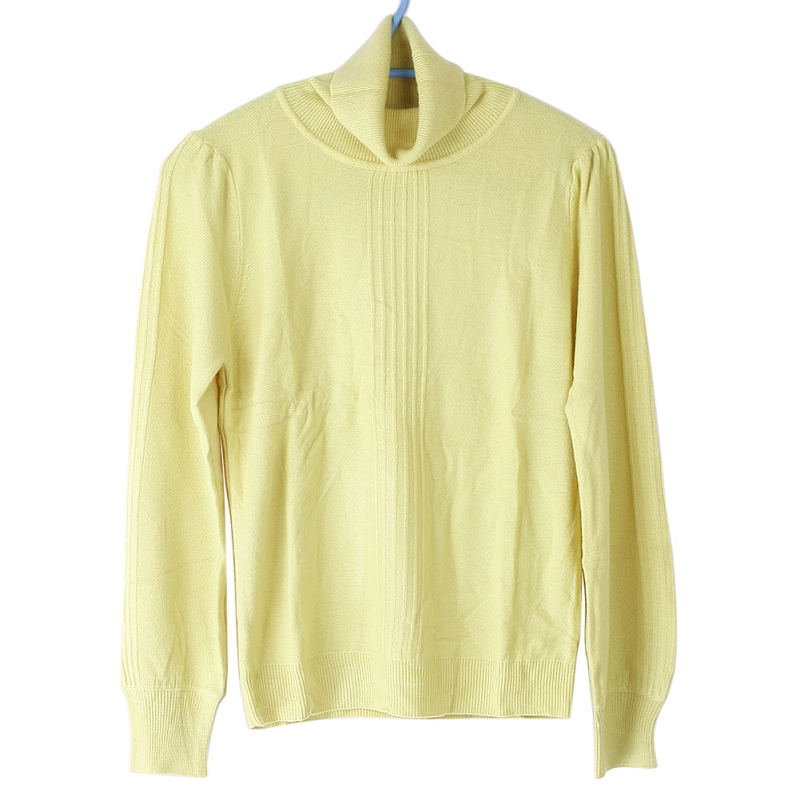 Casual Lady Slim Yellow Vertical Stripes High Collar Knit Sweater Top Blouse